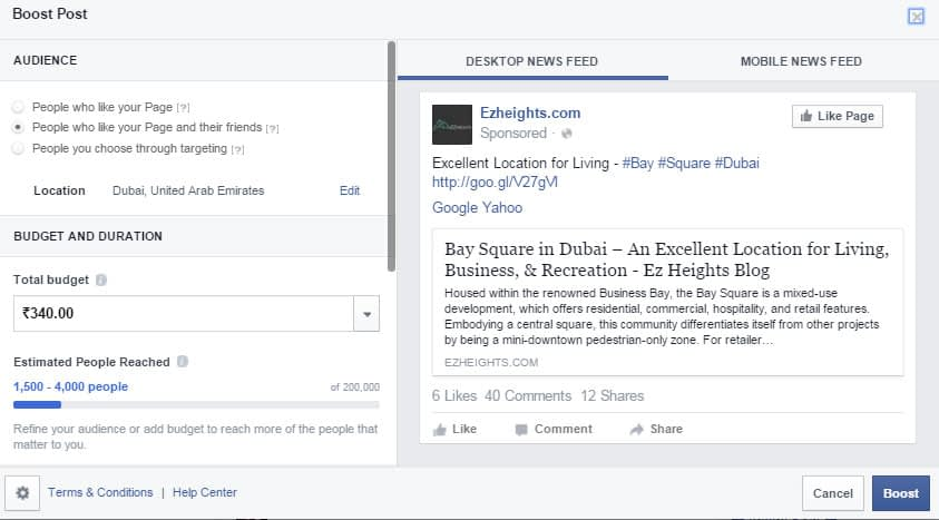 boost your post through facebook