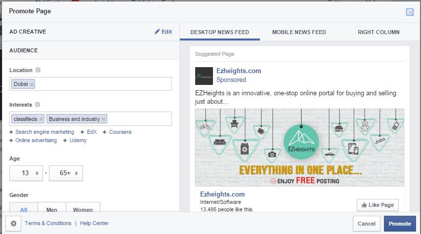 promote page facebook